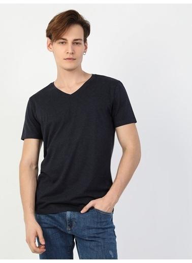 Colin's Slim Fit V Yaka Erkek Erkek Kısa Kol Tişört Mavi
